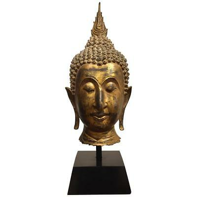 Bronze Buddha Head on Stand from Thailand