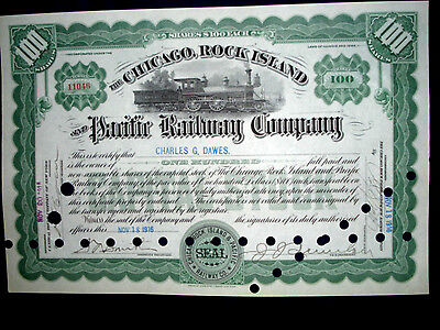 Stock Certificate - Chicago, Rock Island & Pacific Rwy. Co. Charles Dawes- 1916