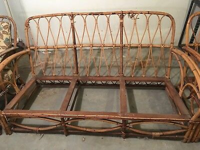 Antique Bamboo Rattan Furniture Set Sofa Couch 2 Chairs VTG. 1920-40's