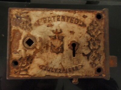 Antique Bennington Mortise Door Lock July 1863 Civil War Era Vintage Repurpose