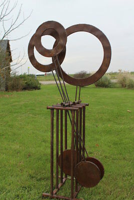 Large Wrought Iron Pendulum Yard Sculpture - Rustic Metal