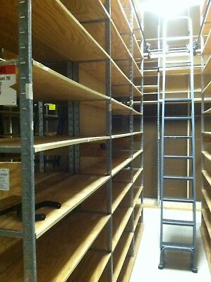 (6) Industrial Steel Library Ladders With Trolleys