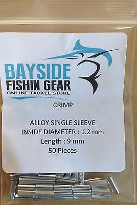 ALLOY CRIMPS 1.2 mm x 9 mm long x 50 SUIT WIRE & MONO TRACE FISHING LEADER