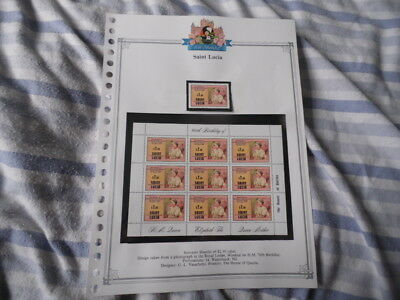 Nickstampshop ~~ St Lucia  ~ Queen Mum's 80th B'day ~ All Content MNH