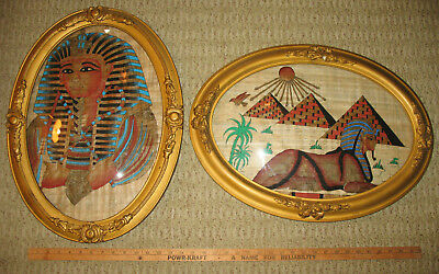 Antique Oval Wood & Plaster Frame w Convex Glass King Tut Sphinx Pyramid Papyrus