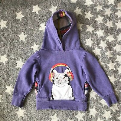 Mini Boden Girls Appliqué Hoody 3-4 Years Cat Design