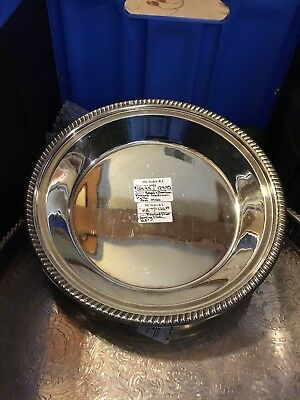 50's REED BARTON SILVER FOOTED GADROON PIE PAN SERVING TRAY 10 1/2""