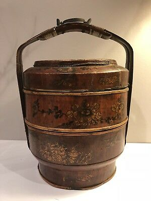 """VINTAGE (c.1920) 3 TIER CHINESE STACKNG WEDDING BASKET, HAND-PAINTED 16"""" H"""