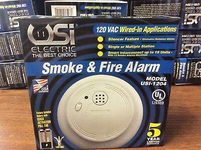 10 Usi Smoke Detectors 120 Volt With Battery Backup Never Opened 1204