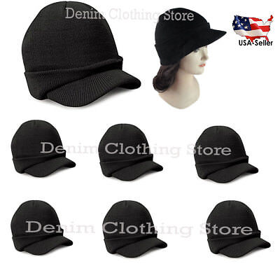12~60pcs Wholesale Lot Visor Beanie Black Knit Ski Cap Warm Winter Hat Cuff Brim