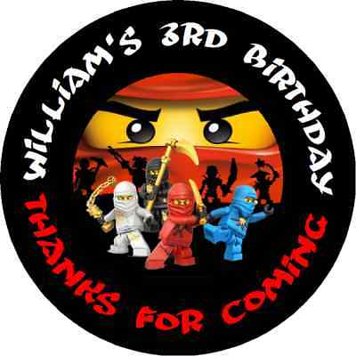 Lego Ninjago Personalized Birthday Party Round Stickers Favors Labels  All Sizes