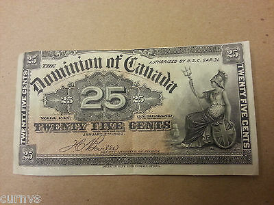 **ERROR NOTE - RARE**  1900 Dominion of Canada 25 Cents ( Twenty five )