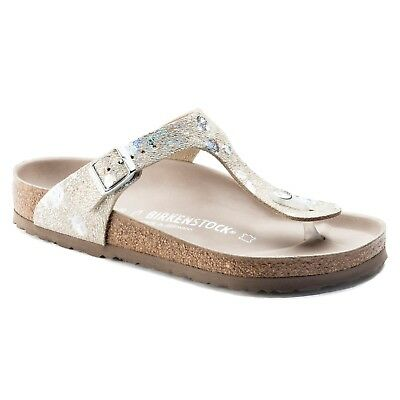 CLEARANCE Birkenstock Leather GIZEH LUX Spotted Metallic Silver BNIB 1006743