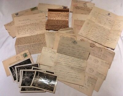 VINTAGE WWII CORRESPONDENCE Lot of 21 Letters From 1 Serviceman 1944-45 & Photos