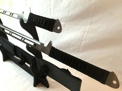 Ninja Sword Dark Finish Knight Square Guard w Sheath Shoulder Strap