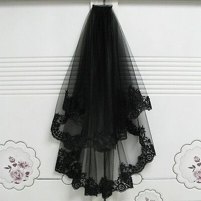 2T Black Lace Wedding Mantilla Bridal Cathedral Birdcage Gothic Veil with Comb