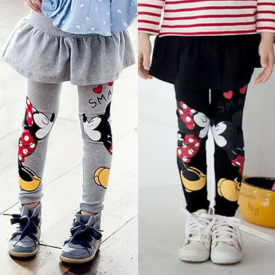 Kids Girls Minnie Mickey Mouse Mini Skirt Pants Stretchy Long Leggings Trousers