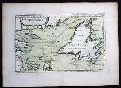 1764 - Newfoundland Gulf of Saint Lawrence Canada Bellin handcolored antique map