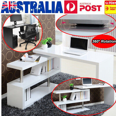 Black White Rotary Corner Home Study Table Office Computer Desk With Bookshelf