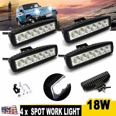 4X 18W 6'' Spot LED Work Light Bar Driving Off Road FOG SUV ATV 4WD Pickup Truck