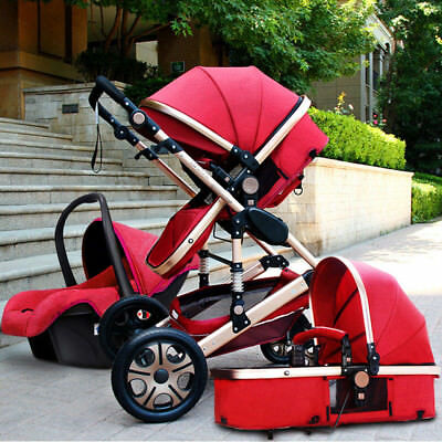 Baby Stroller 3 in 1 High view Pram foldable pushchair bassinet&Car Seat