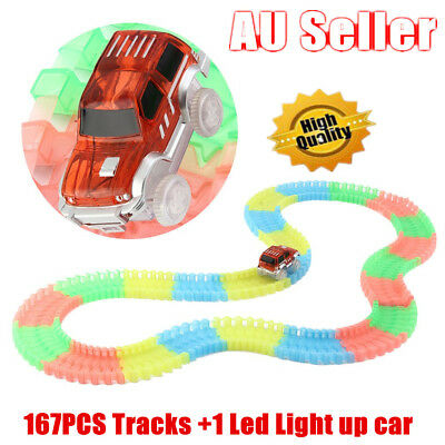 MAGIC TRACKS Glow in the Dark LED LIGHT UP RACE CAR Bend Flex Racetrack Toys AU