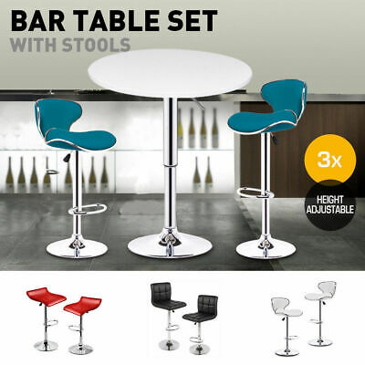 2x/3x Bar stool PU Leather Barstool Bar table Set Kitchen Dining Chair Gas Lift