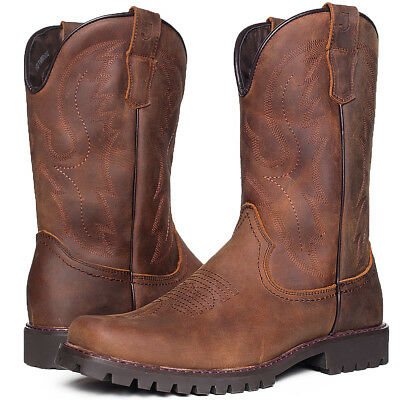 J's.o.l.e Mens Western Cowboy Boots Genuine Leather Square Toe Pull On Work