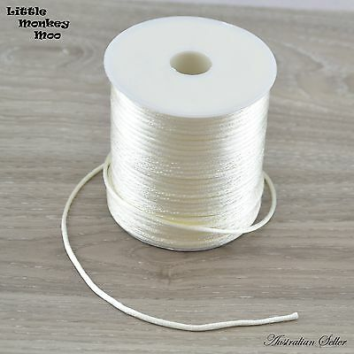 White Satin Nylon Cord 2mm Teething DIY Necklace Beads Jewellery 1 to 40 Meters