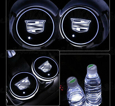 2PCS Colorful LED For Cadillac Car Cup Holder Pad Mat Auto Atmosphere Lights