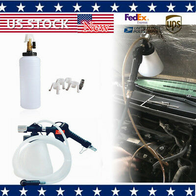 1L Air Brake Fluid Bleeder Kit Clutch Bleeding Extractor Fill Bottle 4 Adapters