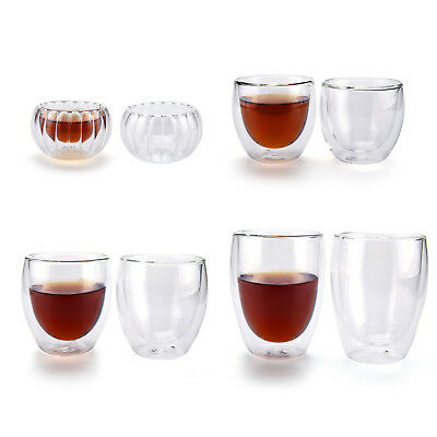 50/80/250/350ml Double Wall/Layer Thermal Glass Cups Mug for Coffee Tea Espresso