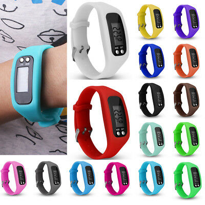 LCD Pedometer Wrist Smart Watch Bracelet Sport Calorie Step Walking Counter UK