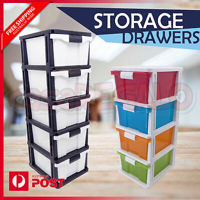 4 / 5 Tier Drawer Storage Organiser Plastic level Office Box Cabinet Coloured