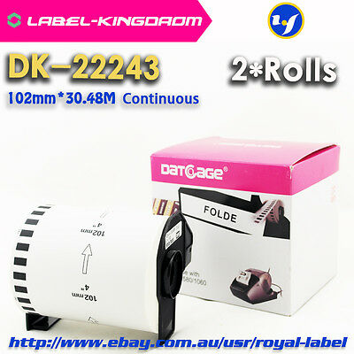 2 Rolls Brother DK-22243 Compatible Label 102mmX30.48M Come With Plastic Holder