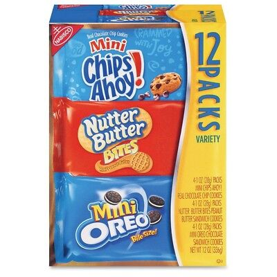Nabisco Bite-size Cookie Variety Pack - Chocolate Chip, Peanut Butter - 1...