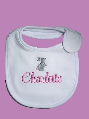 Personalised Baby Bib Easter Bunny Rabbit Any name embroidered Baby Easter Gift