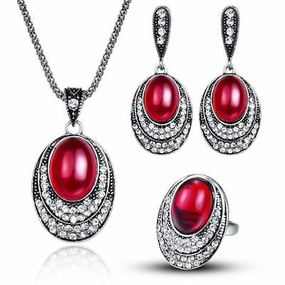 Women Crystal Fashion Rhinestone Necklace Earrings Charm Set  Wedding Jewelry