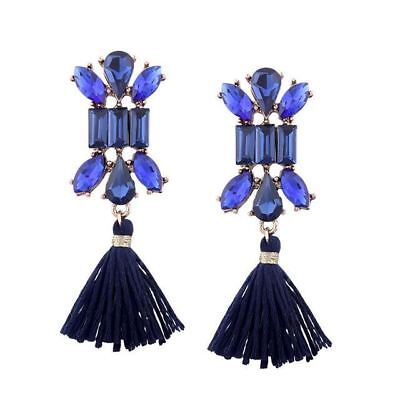 Stainless Steel Vintage Style Cotton Fabric Long Earrings For Women H2479