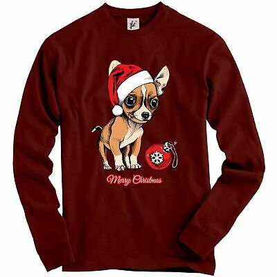 Chihuahua Puppy Wearing Santa Hat With Xmas Bauble Adult Christmas Jumper