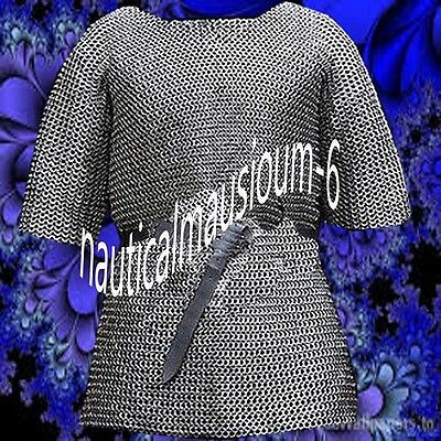 Chainmail XL Size Flat Rivet With Flat Washer Half Sleeve Oiled Hubergion Shirt