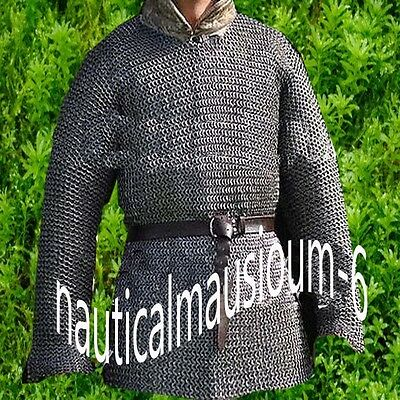 Black Chainmail Shirt Hubergion M Size Full Sleeve Flat Rivet With Flat Washer