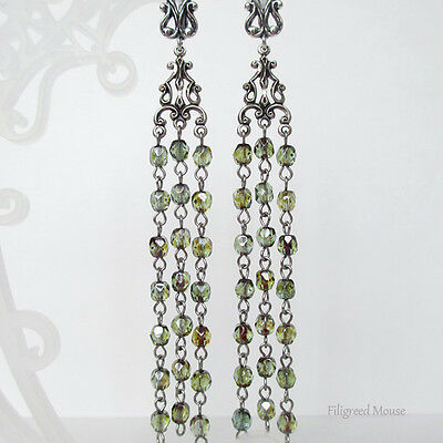 Melchior leverback gothic long dangle Handmade Earrings vintage Czech glass