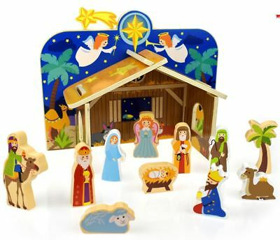 Beautiful Wooden Nativity First Christmas Scene Pretend Play Set, Jesus, Mary