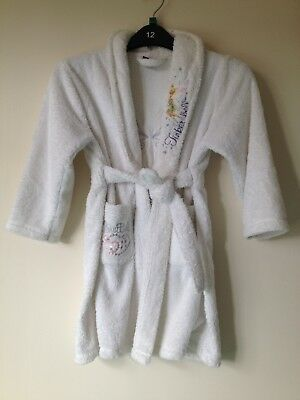 Girls White Fluffy Dressing Gown Aged 5/6 Yrs