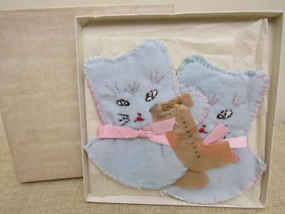 Vintage 1950s Little Girl's KITTEN MITTENS Grandma Made NEVER USED Orig Gift Box