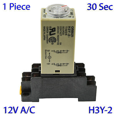 (1 PC) H3Y-2 Omron 12VAC Timer Relay DPDT 8 Pin 5A (30 Sec) with Socket Base