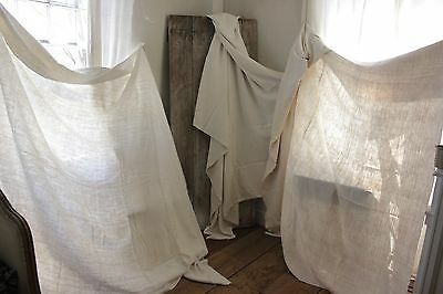 Antique vintage French linen cotton sheets 3 MATCHING 15 POUNDS CUTTERS Damaged