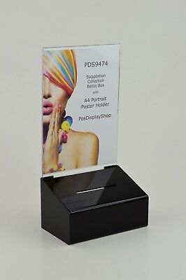 Suggestion / Collection Box with A4 Portrait Poster Holder - PDS9474 Black A4P