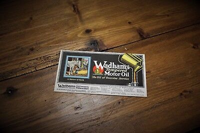 Wadhams Motor Oil Ink Blotter Milwaukee Wisconsin WI Gas Sign Can Vintage Rare